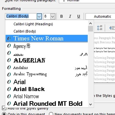 how to make default font in word